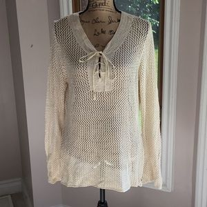 Cream sweater/cover up good condition.